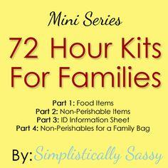 Emergency Preparedness - 72 Hour Kits for Families