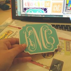 Real life Pinterest! Downloaded my custom monograms from forchicsake.com, took screen shots because I didn't want the whole page, cropped and collaged them all in Microsoft Word, and printed them on Post It craft paper, and grabbed a pair of scissors... Now I have a whole bunch of stickers with my monogram! I'm going to have the cutest notebooks and folders!!