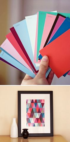 DIY: easy paint chip wall art. Like this for the kitchen or office- i would pull a few colors out, not as many as this sample. cheap. cute!