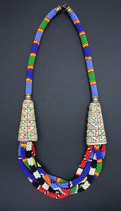 Tribal Ropes Necklace by DorothySiemens, via Flickr rope necklac, clay jewelri, bead crochet, ropes, necklaces, tribal rope