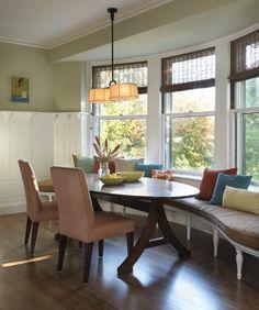 Bay window & window seats in dining room :)