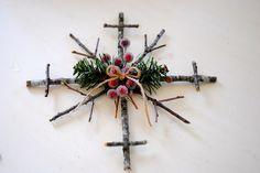 rustic snowflak, diy snowflak, craft idea, branch, diy rustic, christma ornament, christma craft, beauti snowflak, christmas ornaments