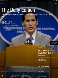 First U.S. Ebola diagnosis, the White House intruder and a former candidate for president? Check out today's edition: flip.it/dailyedition