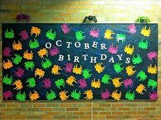 October Birthday Bulletin Board Spiders