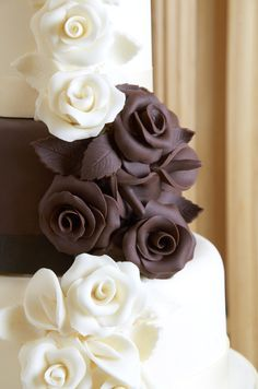 Gorgeous Chocolate Vanilla alternating Layer cake with exquisite rose fondant. Cake FCake Decoration by Kerry Beckingsale