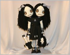 OOAK Siamese Twin Doll Creepy Gothic Folk Art By Jodi CainFrom TatteredRags. $150.00, via Etsy.