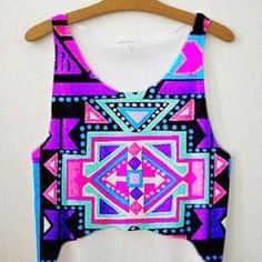 #fashion #style #clothing #aztec #colorful #clothes #crop top