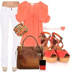 coral & white #outfit #fashion #polyvore