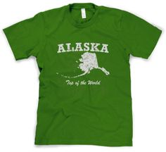 Youth Alaska On Top Of The World T Shirt Funny State Tee For Kids