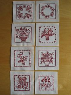 bordado redwork, redwork flower, news, quilts, sophia bush, flowers, red work, embroideri