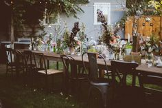 backyard reception, photo by Bethany Carlson http://ruffledblog.com/a-handcrafted-wedding-in-sunnydale #weddingreception #backyardwedding