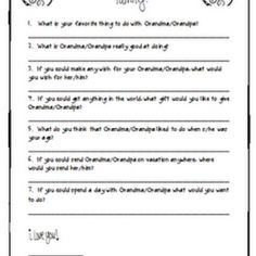 Grandparent's Day Printable Questionnaire classroom stuff, craft, idea, gift, school, classroom holiday, grandparents, kiddo, printabl