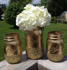 3 Shining shimmering gold Painted mason jars vase vintage centerpiece wedding decor ball kerr rustic wedding Glitter sparkling --It would even be fun to leave the jar as is then put silver glitter with a shellac spray or modge podge over to avoid the sparkles from falling off everywhere!