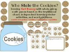 Who Stole the cookies? from Notveryfancy on TeachersNotebook.com - - Build fact fluency, number recognition and problem solving skills with this packet based on the traditional chant--Who Stole the Cookies from the Cookie Jar?