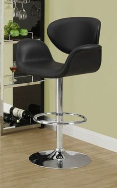"""Hydraulic Lift Barstool Color: Black by Monarch Specialties Inc.. $163.63. Metal finish base. Assembly required. Black leather-look upholstery with Chrome metal finish base. Floor to seat height adjusts between 24"""" - 28. Hydraulic lift system for adjustable height. I 2318 Color: Black Features: -Sleek leather look upholstery.-Curved armrests.-Cushioned for comfort. Color/Finish: -Chrome Metal Finish.. Save 37%!"""