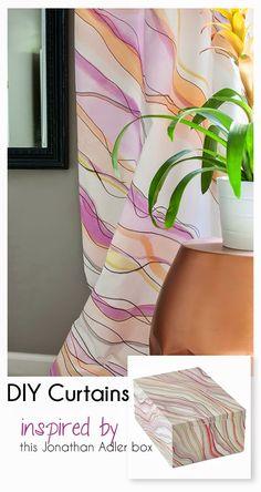 DIY Marble Paper Watercolor Curtain Tutorial