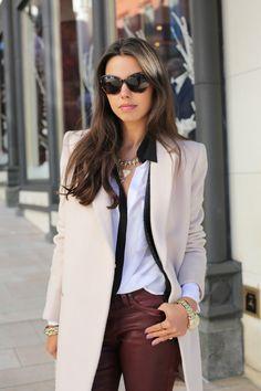 Blush coat + True Religion burgundy jeans + BCBG black & white blouse