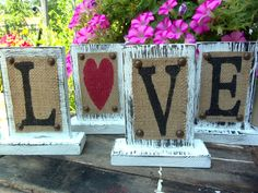 Burlap on wood, super cute