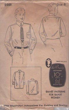 MOMSPatterns Vintage Sewing Patterns - DuBarry 8988 Vintage 30's Sewing Pattern DAPPER Boys' Old Fashioned Front Buttoned Dress Shirt, 2 Lengths Size 6
