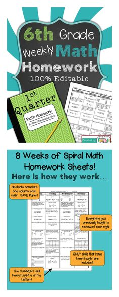 6th Grade Common Core Spiral Math Homework - ENTIRE 1st Quarter! 100% Editable, w/ Answer Keys!!! $