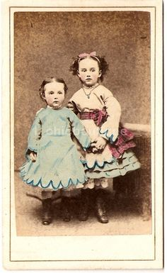 Civil War Era -Little Girls in Fancy Dresses Hand Tinted New York