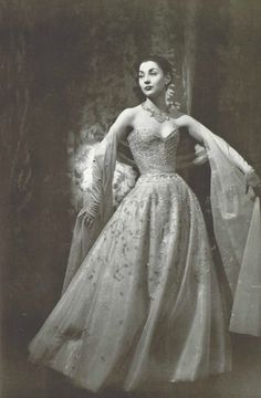 1955 Christian Dior transparent white tulle with diamante