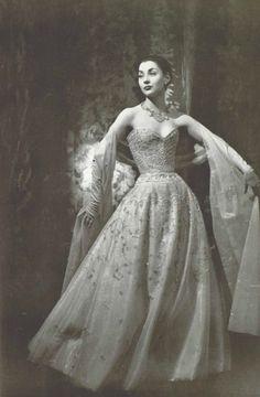 1955 Christian Dior transparent white tulle with diamante