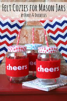 Felt cozies for mason jars - perfect for the 4th!