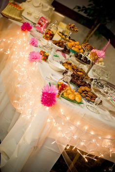 I like the regular christmas lights around the dessert table    SewSweetStitches: Dessert Buffet