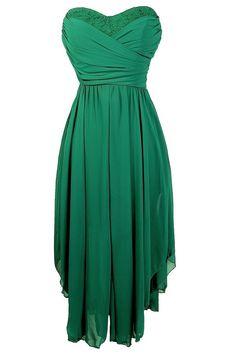 Dana Strapless Chiffon and Lace Midi Dress in Hunter Green
