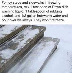 How to melt ice on sidewalks and steps.