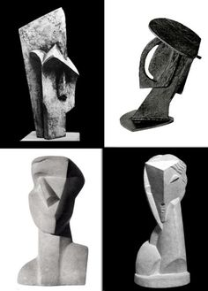 Cubism and its Antagonists.WetCanvas  Upper left: Jacques Lipchitz, 1915, Head    Upper right: Alexander Archipenko, 1913, Head: Construction with crossing planes     Lower left: Joseph Csaky, 1914, Head     Lower right: Henri Laurens, 1920, Head of a young girl
