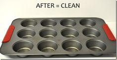 How to clean a muffin pan - with dryer sheets. Soak overnight with a dryer sheet in the water, then baked-on goop will slough right off.