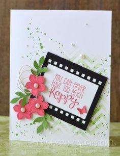 Stamps: petite petals, gorgeons grunge, positivley chevron, yippee-skippee Ink: strawberry slush, gumball green