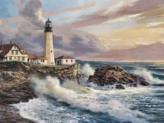 Lighthouse Interior Design | White Lighthouse, art, coast, lighthouse, ocean, painting, sea, shore ...