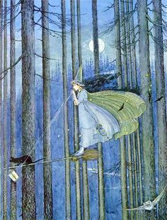 Ida Rentoul Outhwaite ~ The Witch on Her Broomstick ~ The Enchanted Forest ~ 1921