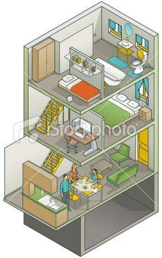 Cutaway Home Interior by vecstar