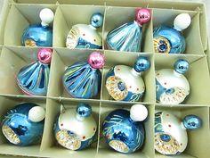 12 Vintage Mercury Glass Christmas Ornements Poland Original BOX
