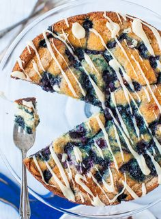 Blueberry and Jam Buttermilk Coffee Cake with Buttery Vanilla Glaze. #food #cakes #desserts