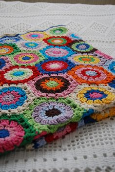 colourful bright crochet blanket