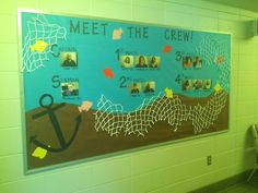 First bulletin board of the year! Nautical theme introducing all the new staff. #reslife #bulletinboard #CA