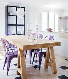 Tolix chairs in all colors of the rainbow but mine would have to be red  or gray but I love them with this table