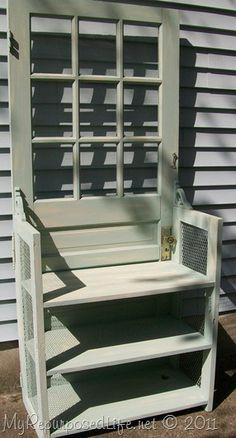 Re-purposed door / bookshelf combo!  Like the gingerbread trim used as a brace.