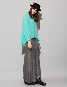 MADEMOD - Turquoise tail shirt - Pixie Market - $49