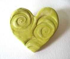 Lime  Ceramic Heart Brooch My Hearts A Swirl by JoyceSloanim, $10.00