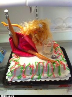 Drunk Barbie bachelorette cake