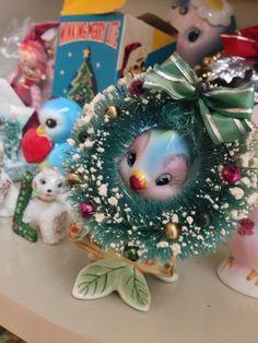 #vintagechristmas bottle brush wreath and a bluebird.