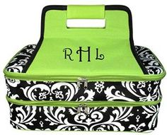 monogrammed damask insulated double casserole tote $39.99