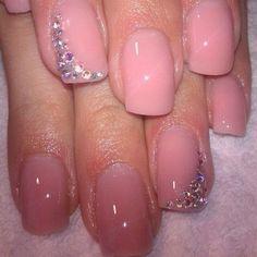 rhineston, wedding nails, diamonds, soft pink, pink nails, nail colors, nail arts, beauti, beauty