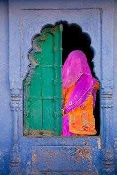 veiled woman in a window, jodhpur, rajasthan, india